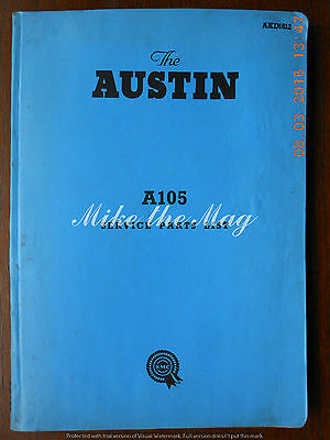 Austin A105 Service Parts List AKD1612 Original 1960 Publication