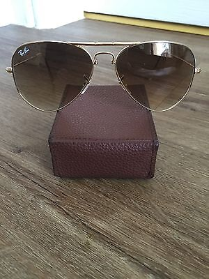 Ray Ban Aviator Gold Foldable Ladies Sunglasses With Case