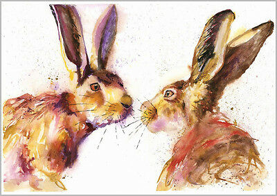 HELEN ROSE Limited Print KISSING HARES wildlife art watercolour painting 324