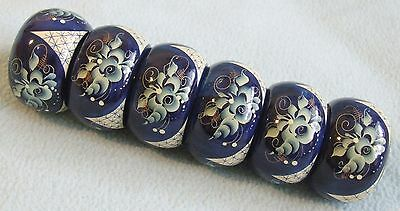 Vintage Kitsch Hand Painted Blue & White FLORAL Wooden NAPKIN RINGS - Boxed