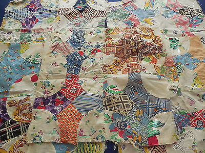 5 Vintage Patchwork Quilt Blocks Feedsack Material