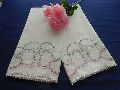 Vintage Embroidered Hearts Pillowcases