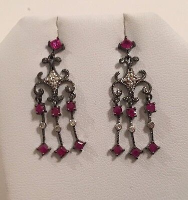 New Vintage Style Sterling Silver Red Ruby & Diamond Chandelier Earrings