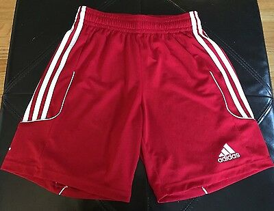 Youth Adidas Red Athletic Shorts with white on the sides. Climalite. Sz Small