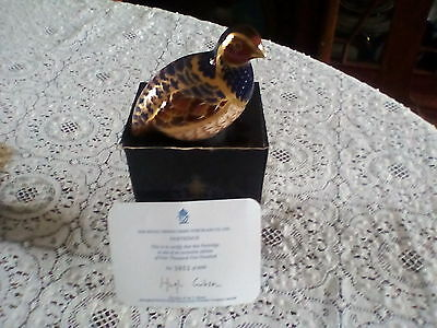 Royal crown derby partridge paperweight boxed GOLD stopper limited edition