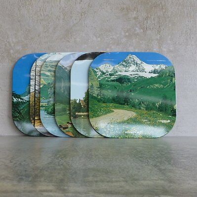 Vintage Set of 6 Tin Place mats Scenic Views Switzerland Cork Back 1960s 16.5cm