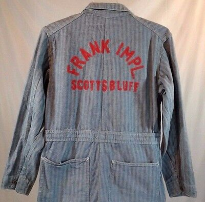 Vintage FRANK IMPL. SCOTTS BLUFF Universal Overall Co Denim Coveralls Union Made