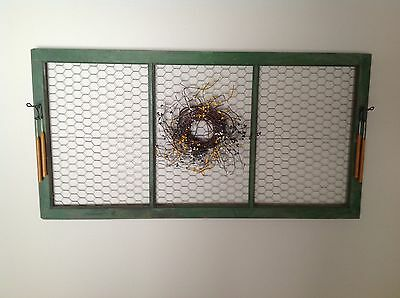 Vintage Wood Green Window Frame Decorated Shabby Chic with Chicken Wire Backing