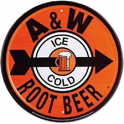 A & W Root Beer Round Metal Sign