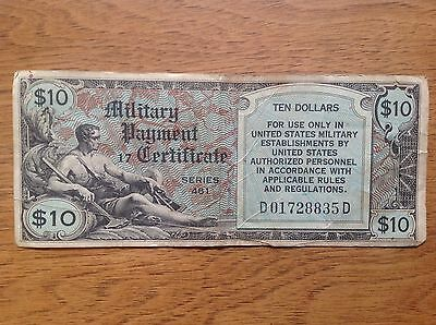 Scarce Series 481 $10 TEN DOLLAR Military Payment Certificate, seldom auctioned