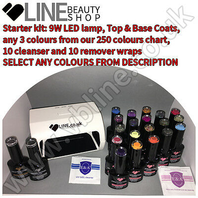 Top & Base & 3 colours VB® Line UV/LED nail gel polish starter kit 9W LED lamp,