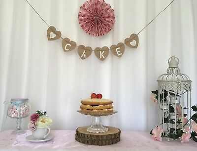 Rustic Hessian Heart ❤️ CAKE ❤ Wedding Bunting Hanging Venue Decoration