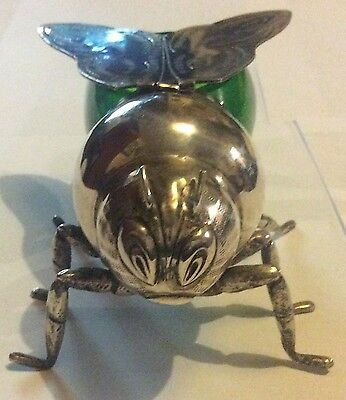 Vintage Green Glass & Silver Plate Honey Bee Jam Or Preserve Pot