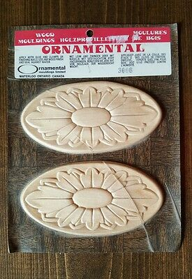 Decorative Oval Flower Wood Applique Carved Onlay Accent Moulding Embellishment