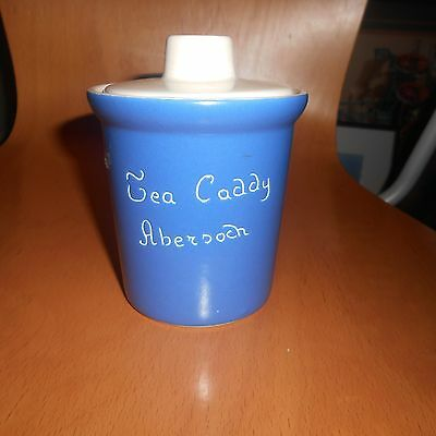 Fosters art pottery blue and white tea caddy