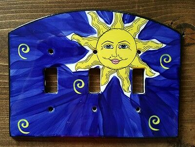 Ceramic Blue Sun Triple Light Switch Plate Now Thats A Switch All Fired Up! LTD