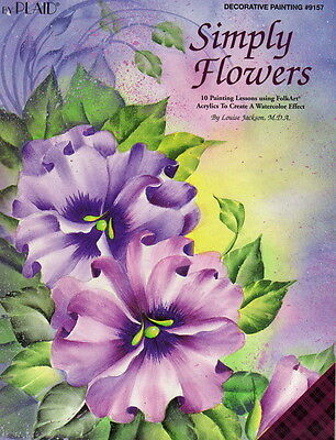 Simply Flowers Painting Pattern Book Acrylic Watercolor Designs Louise Jackson