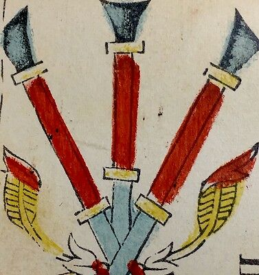 c1780 Three of Wands Painted Antique Tarot Marseille Playing Cards Single +COA