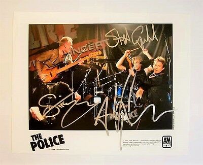 THE POLICE - Ultra Rare Band Signed A&M Records Promotional Photograph MSG 2007