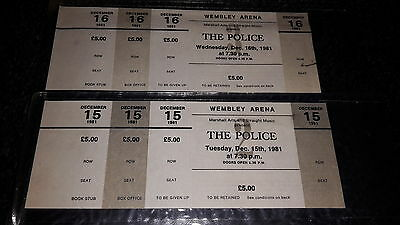 THE POLICE Set of 2 Wembley Arena Dec 1981 Ticket Proofs MINT Only Known Set