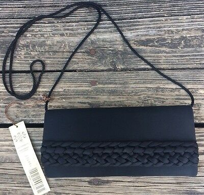 Kate Landry Black Clutch Satin Purse Handbag Braided Evening Party Formal