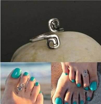 NEW Silver Spiral Toe Ring Adjustable Cuff Foot Band Punk Women Beach Jewelry