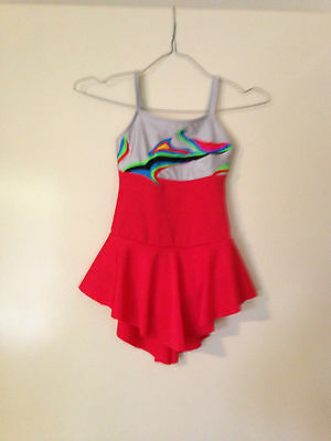 Ice Skating Costume -Rainbow & Silver Top with Red Lycra Bottom - Child 5/6 New)
