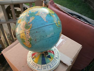 L@@@@k Vintage Replogle 8 Inch Litho Air Race Magnetic Globe & Metal Base Sweeet