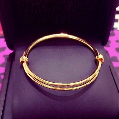 UK 1pc14k gold fillled BABY BANGLE BRACELET birthday BOY GIRL 0-6 YEAR GIFT BaG