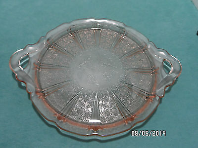 Jeanette Pink Depression Glass Serving Tray W/ Handles Cherry Blossom Pattern