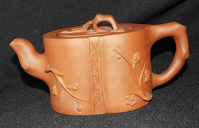 Old or Antique Chinese Yixing Teapot Prunus Relief Decoration Impressed Marks