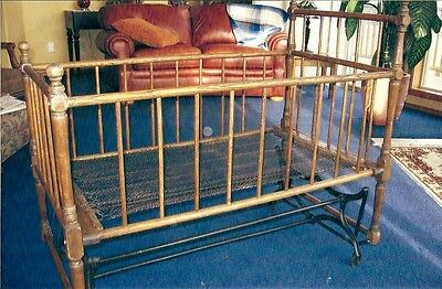 Antique Wood Spindle Crib & Rocking Cradle Baby Bed Museum Rustic Vict 1800s!