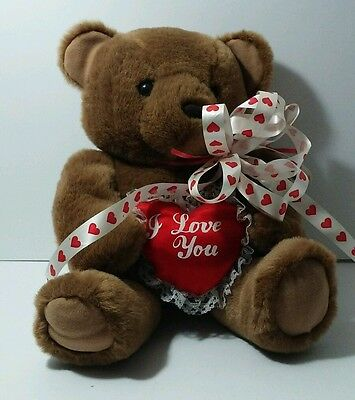 """Brown I LOVE YOU TEDDY BEAR 30"""" Red Heart"""