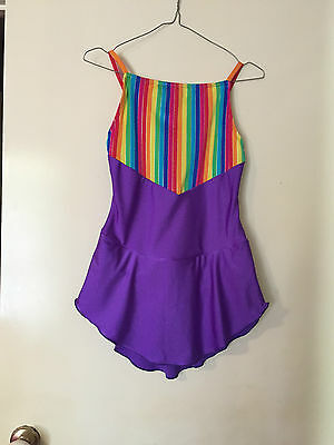Ice Skating Costume  Strip & Purple Lycra - Child 13/14 New (Can be in any Size)