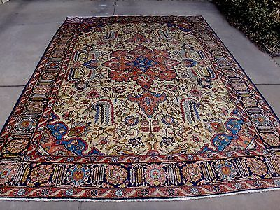 Rare antique Persian Tabriz large floral medallion rug circa 1920's 9x12 ft