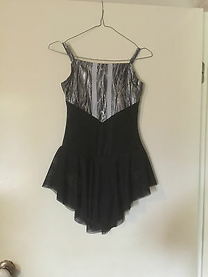 Ice Skating Costume Silver & Black Dress Child 12/13 New ( can be in any size )