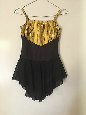 Ice Skating Costume - Gold & Black Dress Child 11/12 New ( can be in any size )