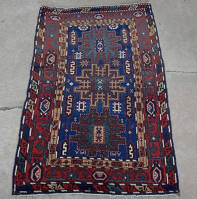 Estate antique Caucasian Lezgi rug from 1880's with rare green color 3x5 ft