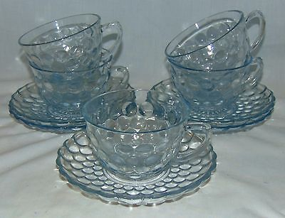 5 Anchor Hocking BUBBLE BLUE *CUPS & SAUCERS*