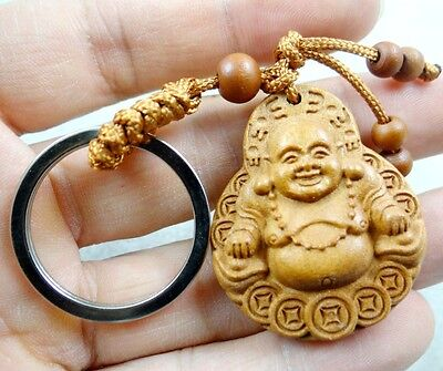 40*33MM Hand-carved Buddha Wooden Crafts, Key Chain, Key Ring D3