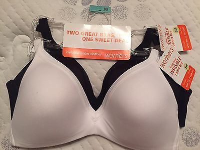 abe4e2c5ea5 WARNER S WIREFREE BRAS TWO Invisible T-Shirt Bras 4011 Lined ...