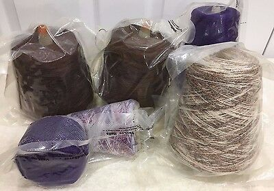Cone Yarn 4 Cones + 1 Partial + 1 Ball 4 Lbs 15 Oz Wool & Wool Blends Lot E 83