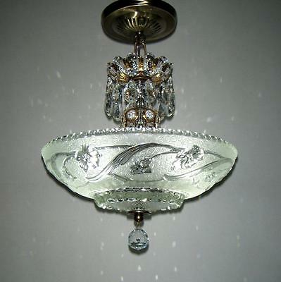 Nice Vintage Art Deco Glass Floral Shade Ceiling Lamp Light Fixture Chandelier