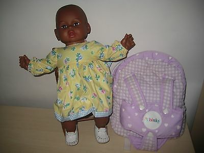 Vintage Eegee African American Black Baby Doll w/ Carrier and Accessories LOVELY