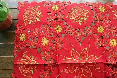 "Red Christmas Bell Poinsettia Embroidered 33"" Square Tablecloth Decor Ornament"