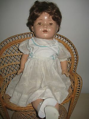 """Rare Antique 23"""" Compo & Cloth Body Doll w/Clothes Beautiful Face w/Real Lashes"""