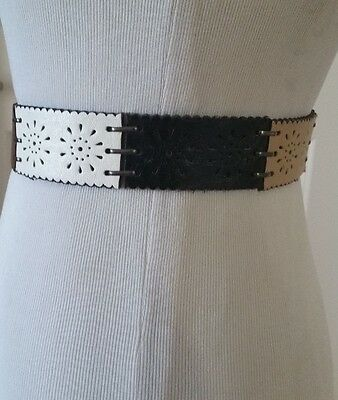 Women's RALPH LAUREN Belt Leather Brown Black White Silver Buckle Size M Nice!