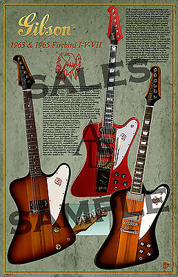 "1963-65 Gibson Firebird I,V,VII Electric Guitar Poster 11"" X 17"""