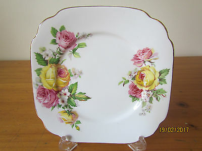 Vintage English Queen Anne 'Manor Roses' bone china square side plate