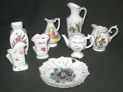 Vintage - Lot of 8 - MINIATURE PITCHERS, VASES & PLATE - Made In Japan